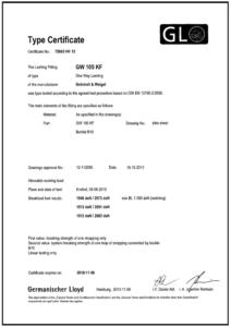 Zertifikat GW 105 KF 8 Verschluss B 10