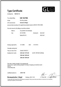 Zertifikat GW 105 PES 2300 Verschluss WLS 35