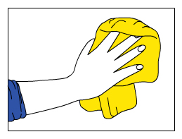 Hand putzt