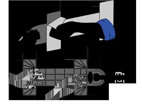 Zeichnung 4. Anbringen des International Straps an der Wand